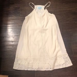 She + Sky lace embellished cream dress S